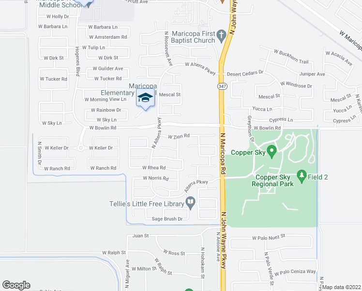 map of restaurants, bars, coffee shops, grocery stores, and more near 17919 North Vera Cruz Avenue in Maricopa