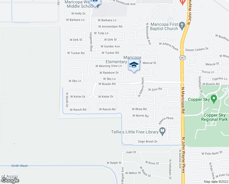map of restaurants, bars, coffee shops, grocery stores, and more near 45575 Mountain View Road in Maricopa
