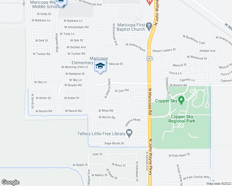 map of restaurants, bars, coffee shops, grocery stores, and more near 45129 West Zion Road in Maricopa
