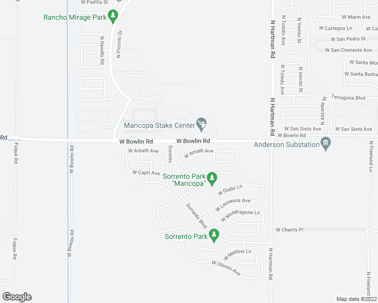 map of restaurants, bars, coffee shops, grocery stores, and more near 37346 West Amalfi Avenue in Maricopa