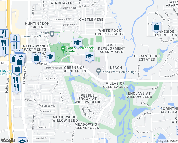 map of restaurants, bars, coffee shops, grocery stores, and more near West Parker Road in Plano