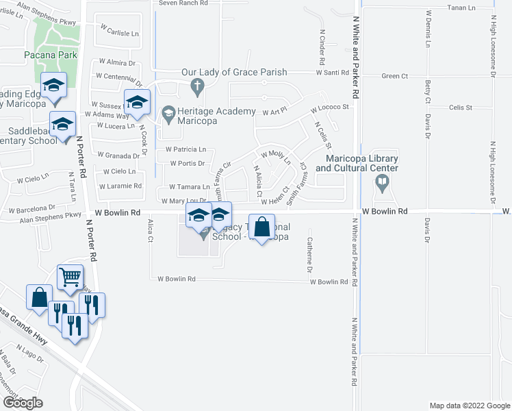 map of restaurants, bars, coffee shops, grocery stores, and more near 40477 West Helen Court in Maricopa