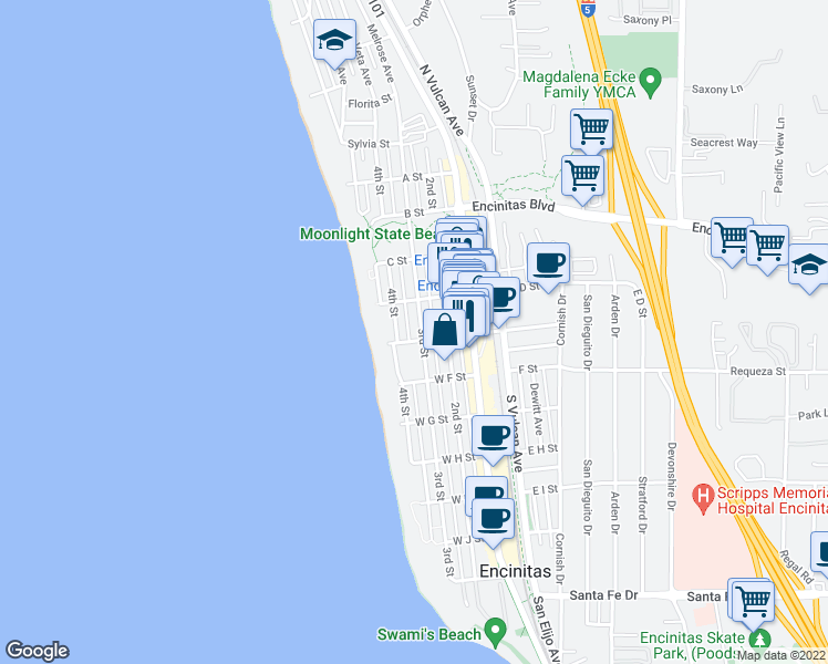 map of restaurants, bars, coffee shops, grocery stores, and more near 552 3rd Street in Encinitas