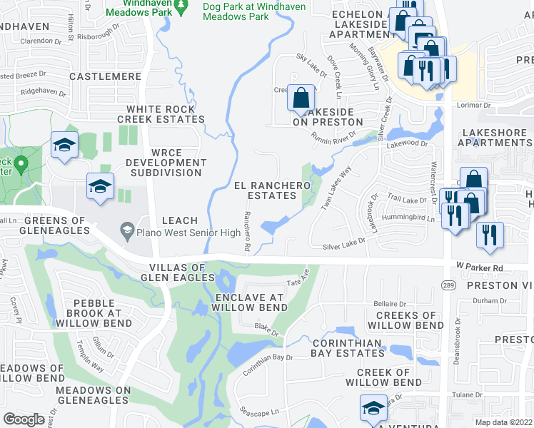 map of restaurants, bars, coffee shops, grocery stores, and more near 3420 Ranchero Road in Plano