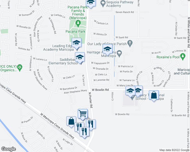 map of restaurants, bars, coffee shops, grocery stores, and more near 41389 West Cielo Lane in Maricopa
