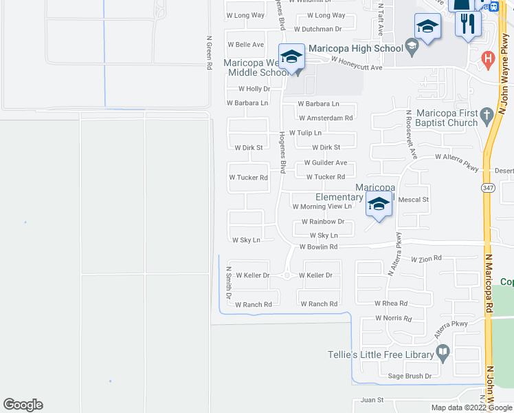 map of restaurants, bars, coffee shops, grocery stores, and more near 46024 Morning View Lane in Maricopa
