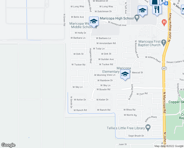 map of restaurants, bars, coffee shops, grocery stores, and more near 18282 Kari Lane in Maricopa