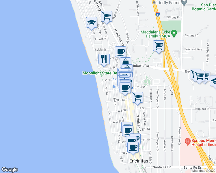 map of restaurants, bars, coffee shops, grocery stores, and more near 441 4th Street in Encinitas