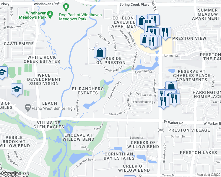 map of restaurants, bars, coffee shops, grocery stores, and more near 3529 Twin Lakes Way in Plano