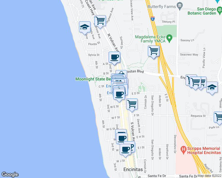 map of restaurants, bars, coffee shops, grocery stores, and more near 432 2nd Street in Encinitas