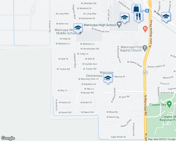 map of restaurants, bars, coffee shops, grocery stores, and more near 45653 Tucker Road in Maricopa