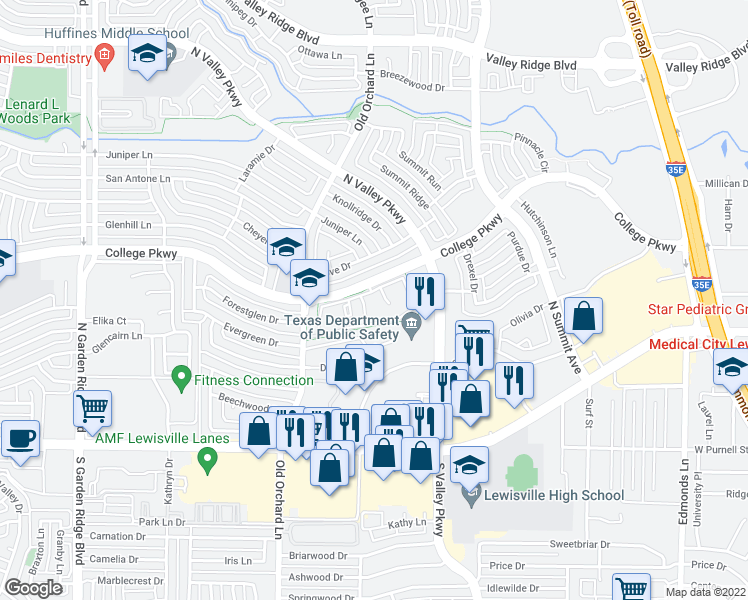 map of restaurants, bars, coffee shops, grocery stores, and more near 1200 College Parkway in Lewisville