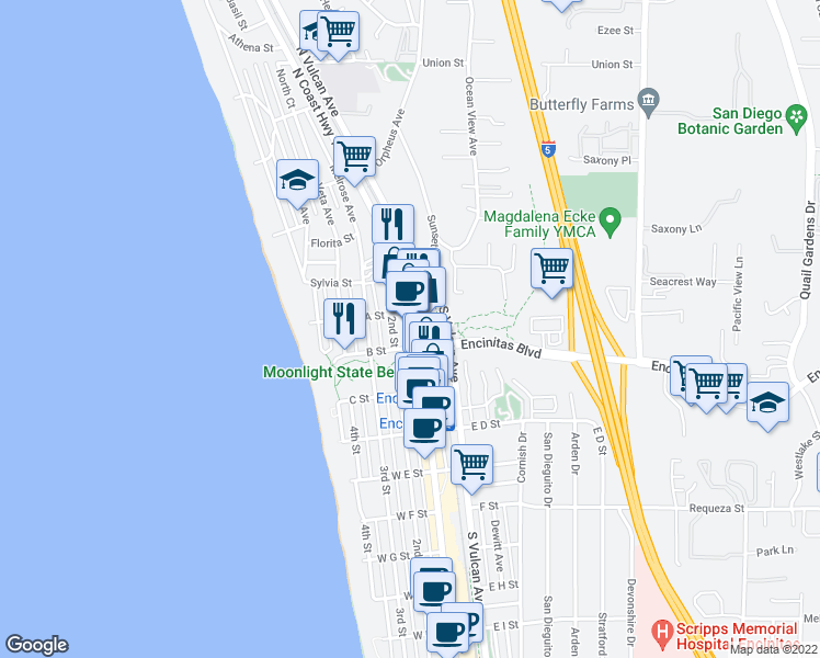 map of restaurants, bars, coffee shops, grocery stores, and more near 90 North Coast Highway 101 in Encinitas