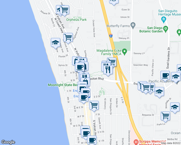 map of restaurants, bars, coffee shops, grocery stores, and more near 3 North Vulcan Avenue in Encinitas