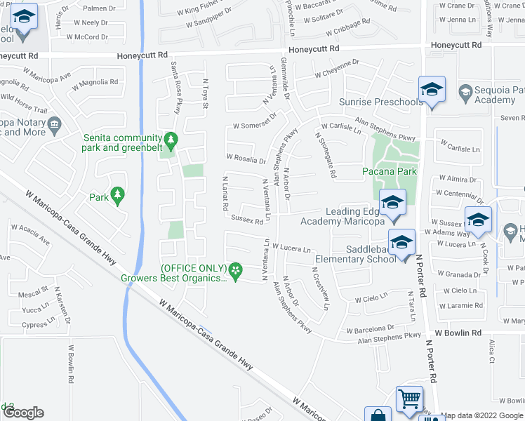 map of restaurants, bars, coffee shops, grocery stores, and more near 42411 West Arvada Lane in Maricopa