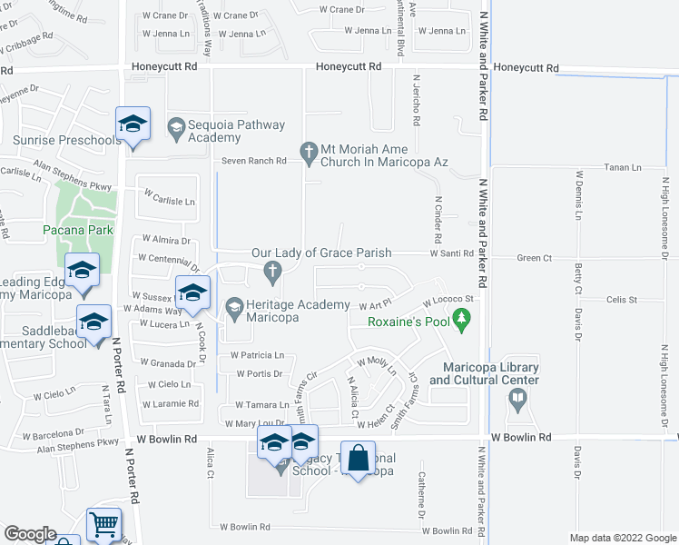 map of restaurants, bars, coffee shops, grocery stores, and more near 40521 West Marion May Lane in Maricopa