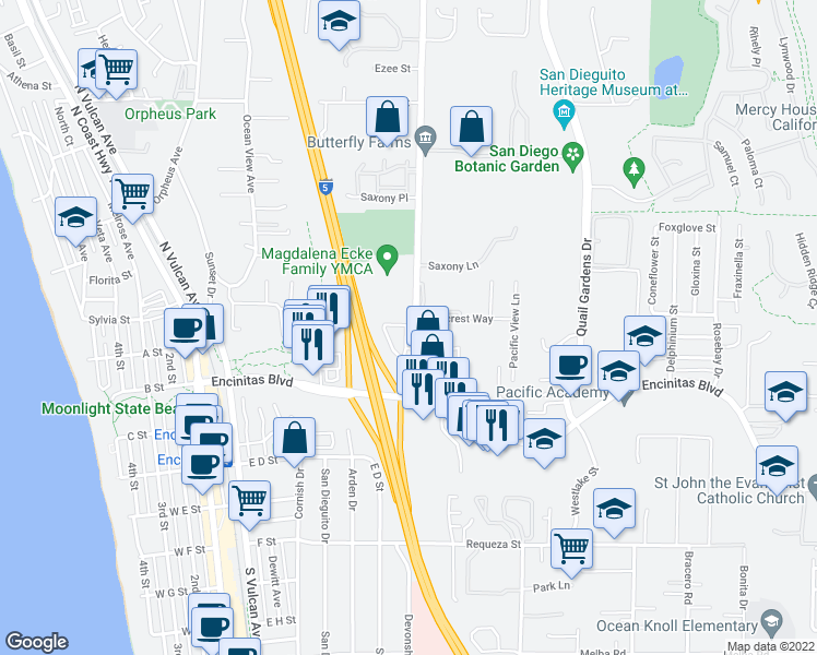 map of restaurants, bars, coffee shops, grocery stores, and more near 131 Mangano Circle in Encinitas