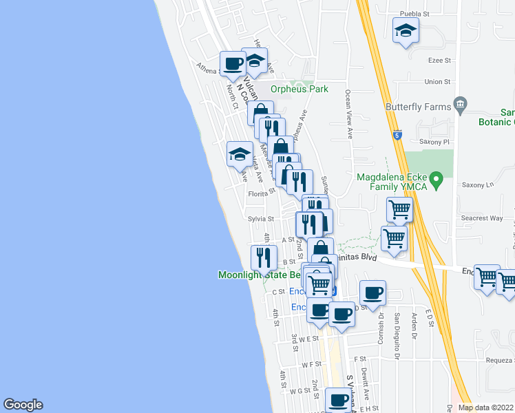 map of restaurants, bars, coffee shops, grocery stores, and more near 223 Lolita Street in Encinitas