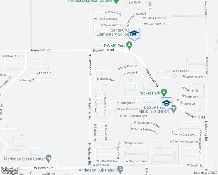 map of restaurants, bars, coffee shops, grocery stores, and more near 36437 West Montserrat Street in Maricopa