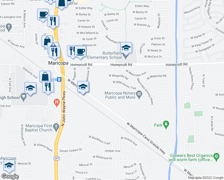 map of restaurants, bars, coffee shops, grocery stores, and more near 43935 West Arizona Avenue in Maricopa