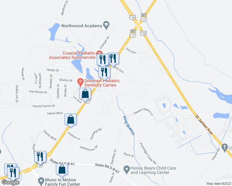 map of restaurants, bars, coffee shops, grocery stores, and more near Meadows Lane in Summerville