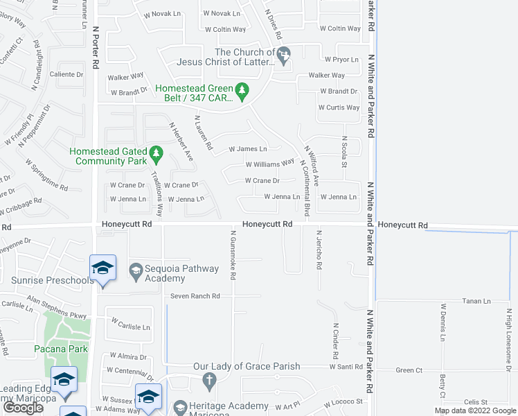 map of restaurants, bars, coffee shops, grocery stores, and more near 40552 West Hensley Way in Maricopa