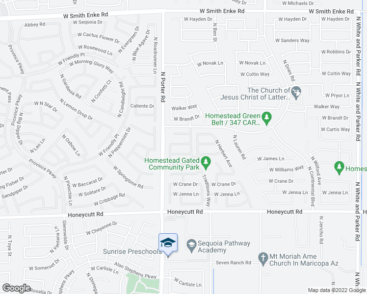 map of restaurants, bars, coffee shops, grocery stores, and more near 41327 West Ganley Way in Maricopa