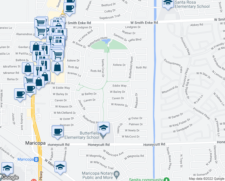 map of restaurants, bars, coffee shops, grocery stores, and more near 43640 West Bailey Drive in Maricopa