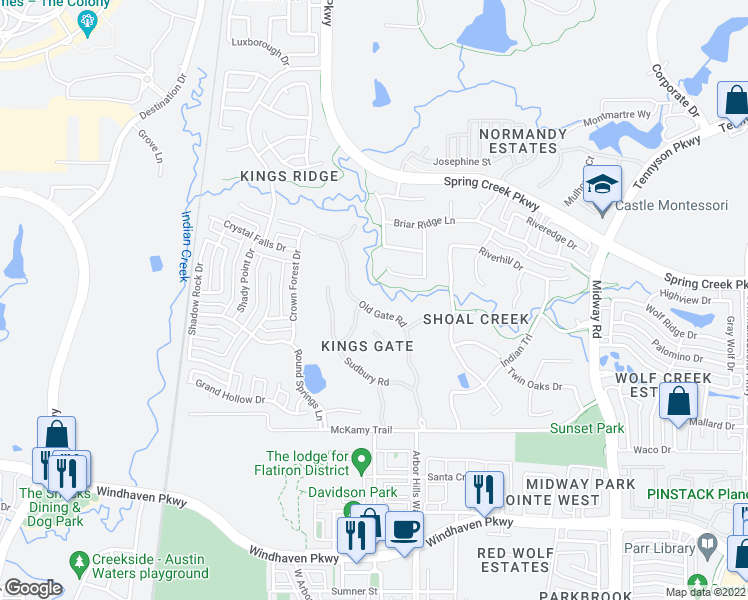 map of restaurants, bars, coffee shops, grocery stores, and more near 6524 Old Gate Road in Plano