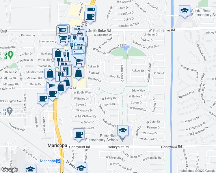 map of restaurants, bars, coffee shops, grocery stores, and more near 43968 West Griffis Drive in Maricopa