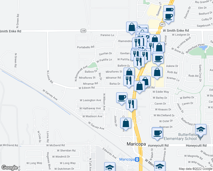 map of restaurants, bars, coffee shops, grocery stores, and more near 45111 Bahia Drive in Maricopa