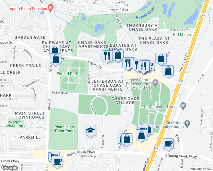 map of restaurants, bars, coffee shops, grocery stores, and more near 300 Legacy Drive in Plano