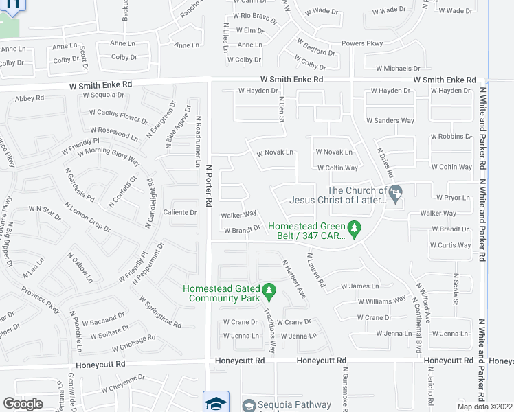 map of restaurants, bars, coffee shops, grocery stores, and more near 20515 North Herbert Avenue in Maricopa