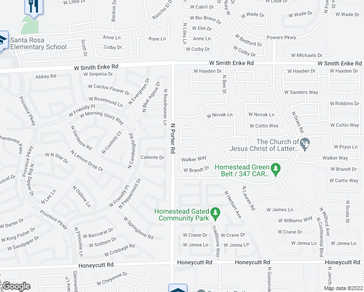 map of restaurants, bars, coffee shops, grocery stores, and more near 41416 West Pryor Lane in Maricopa