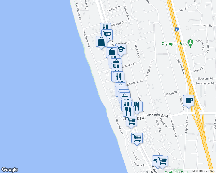 map of restaurants, bars, coffee shops, grocery stores, and more near 174 West Glaucus Street in Encinitas