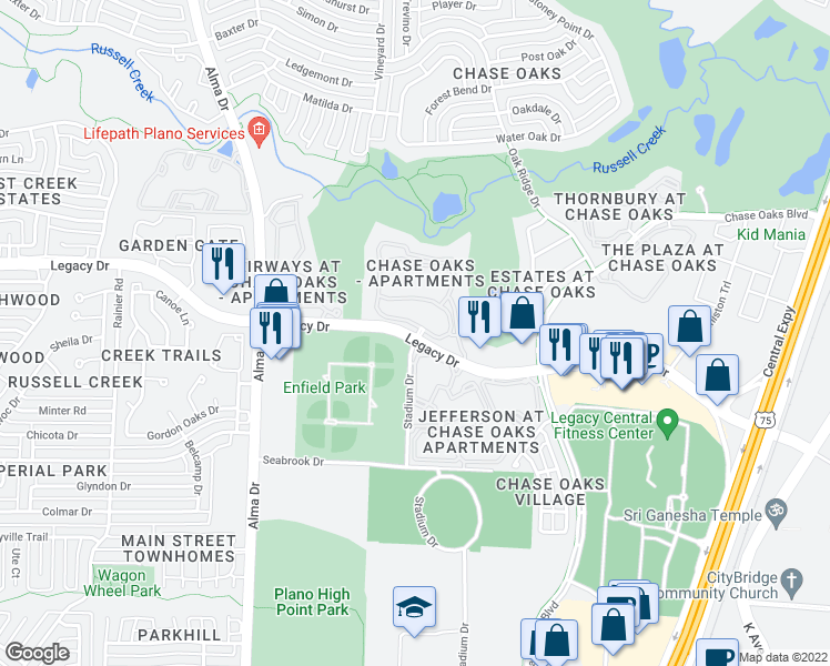 map of restaurants, bars, coffee shops, grocery stores, and more near 20 Stadium Drive in Plano