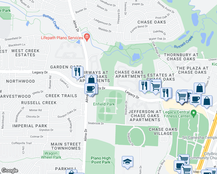 map of restaurants, bars, coffee shops, grocery stores, and more near 700-814 Legacy Drive in Plano