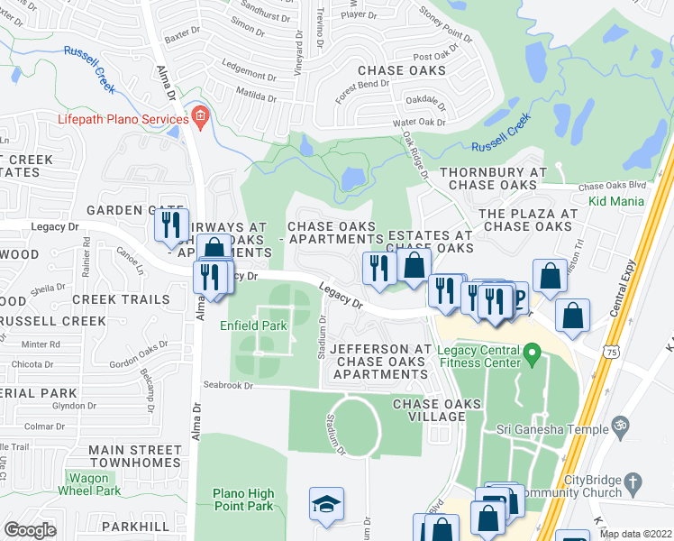 map of restaurants, bars, coffee shops, grocery stores, and more near 701 Legacy Drive in Plano