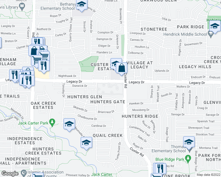 map of restaurants, bars, coffee shops, grocery stores, and more near 6909 Custer Road in Plano