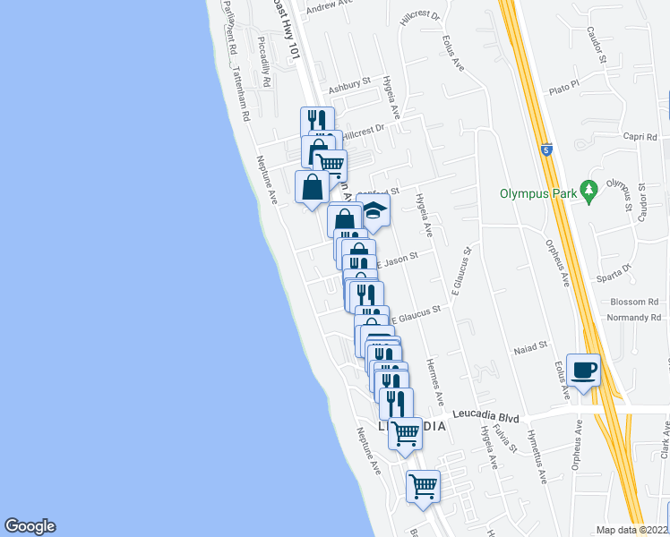map of restaurants, bars, coffee shops, grocery stores, and more near 136 West Jason Street in Encinitas