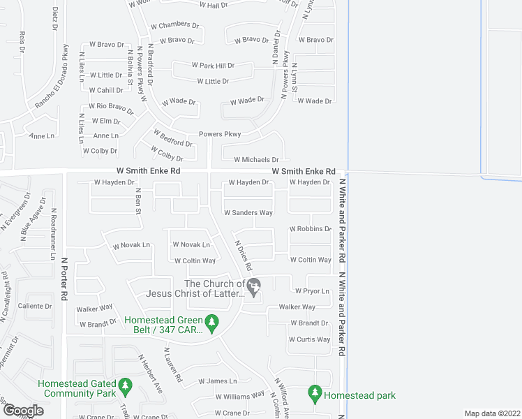 map of restaurants, bars, coffee shops, grocery stores, and more near 40370 West Sanders Way in Maricopa