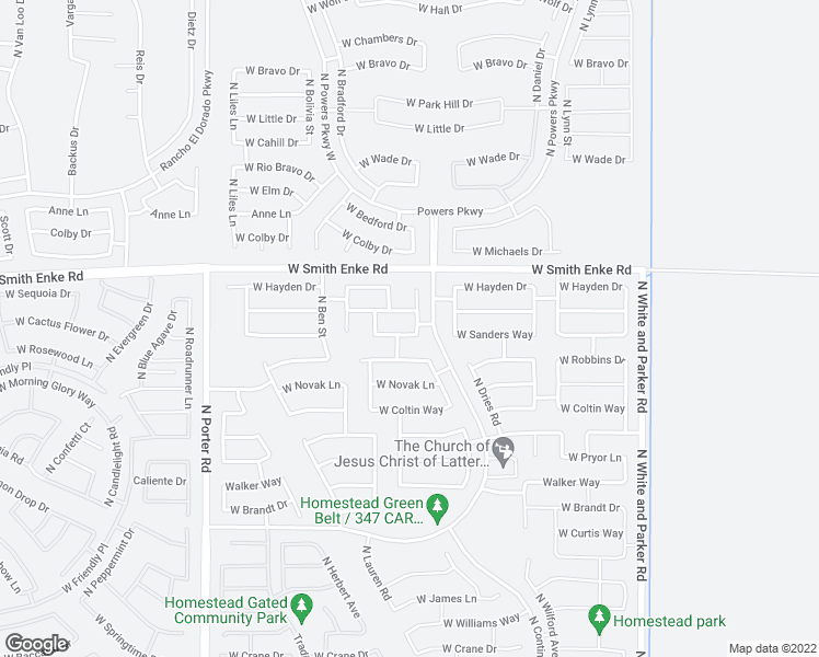 map of restaurants, bars, coffee shops, grocery stores, and more near 40754 West Sanders Way in Maricopa