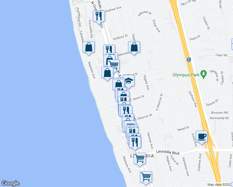 map of restaurants, bars, coffee shops, grocery stores, and more near 123 Jupiter Street in Encinitas