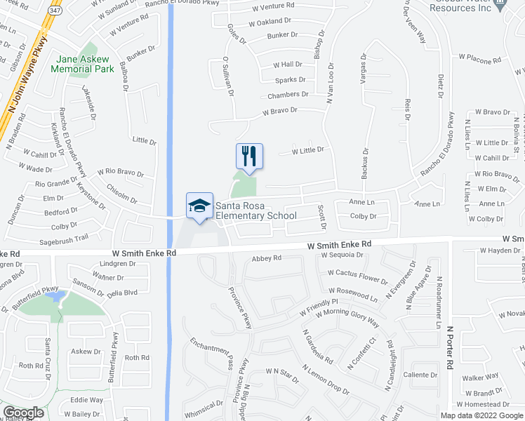 map of restaurants, bars, coffee shops, grocery stores, and more near 42575 Anne Lane in Maricopa