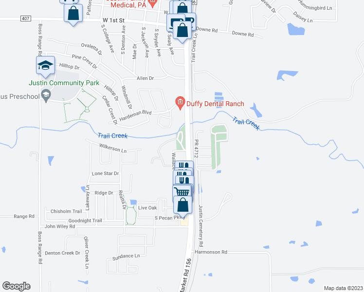Map Of Justin Texas.Bishop Park Justin Tx Walk Score