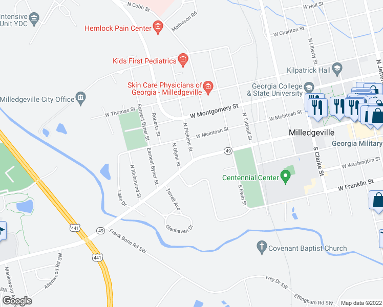 map of restaurants, bars, coffee shops, grocery stores, and more near 1021 Oconee River Greenway in Milledgeville
