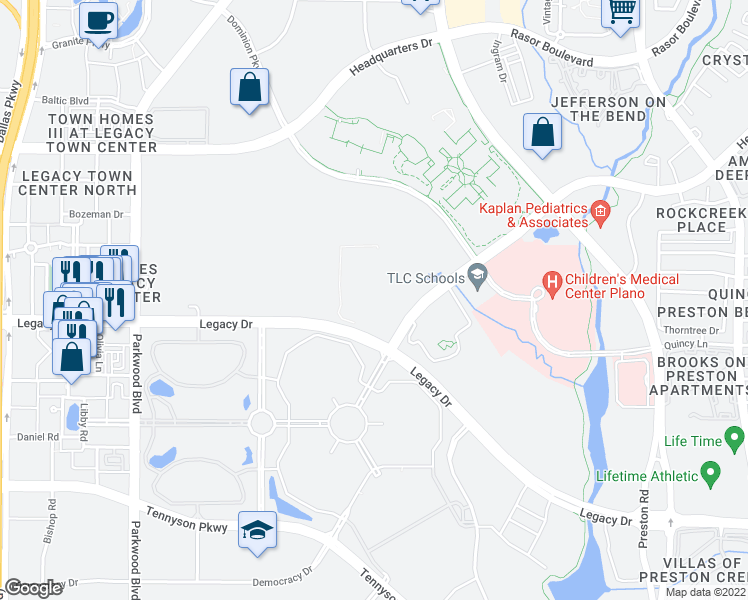 map of restaurants, bars, coffee shops, grocery stores, and more near in Plano