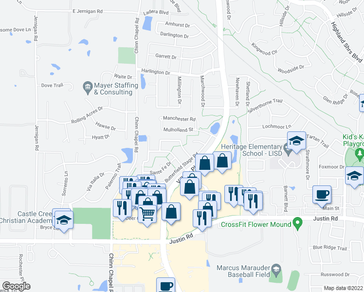 map of restaurants, bars, coffee shops, grocery stores, and more near Shady Meadow Drive in Highland Village