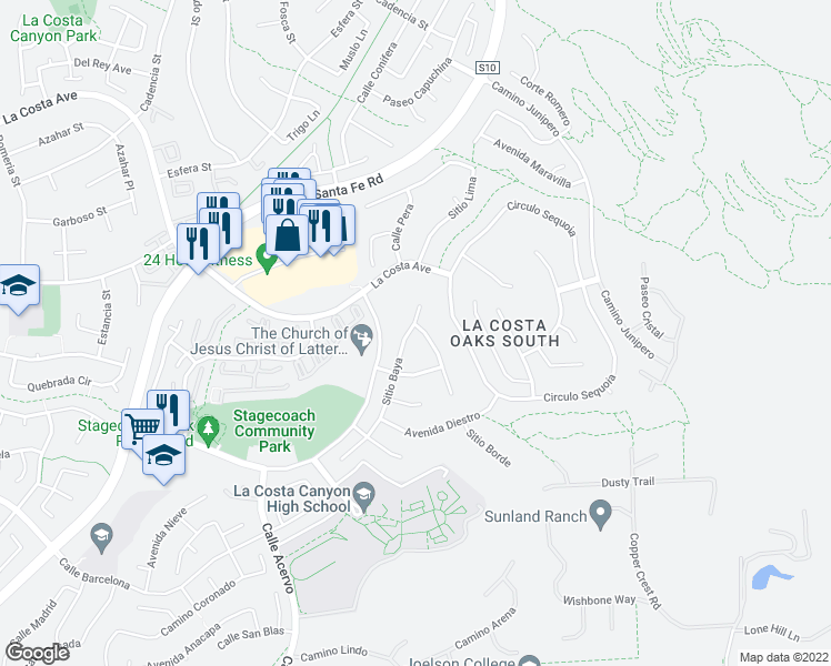 map of restaurants, bars, coffee shops, grocery stores, and more near 3543 Sitio Baya in Carlsbad