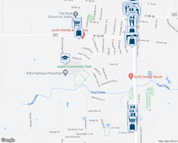 Map Of Justin Texas.241 Cedar Crest Drive Justin Tx Walk Score